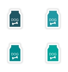Assembly realistic sticker design on paper dog vector