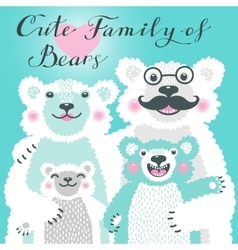 Cute card with a family of white bears dad hugs vector