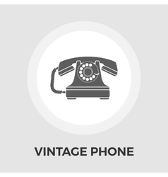 Vintage phone flat icon vector