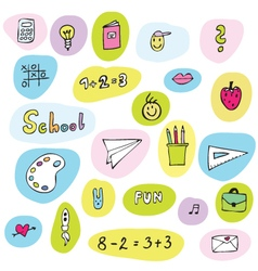 Back to school - freehand drawings of school items vector