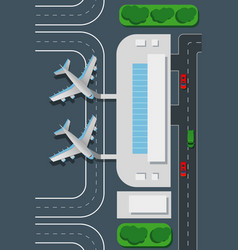 airport top view landing pad vector image vector image