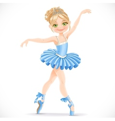 Beautiful ballerina girl dancing in blue dress vector