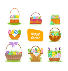 Beautiful easter baskets with painted eggs vector