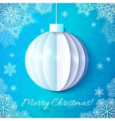 Blue cutout paper christmas ball in origami style vector