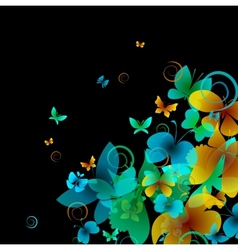 Bright butterflies on a black background vector image vector image