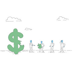 Business people group build dollar sign team vector