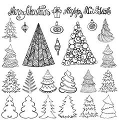 Christmas tree setballsletteringblack vector