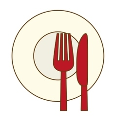 Color knife fork and plate icon vector