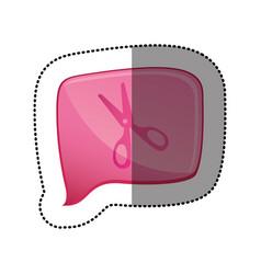 Color sticker with scissors icon in square speech vector