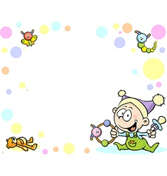 cool baby background with funny baby toys and vector image vector image