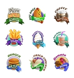 Fastfood cartoon colorful emblems set vector