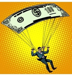 Golden parachute business concept cash vector