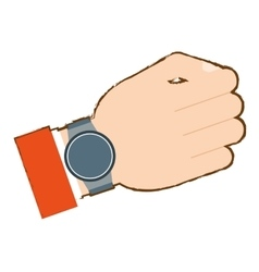 Hand with smart watch trendy wearable vector
