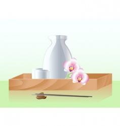 Japanese sake set vector image vector image
