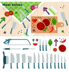 Modern kitchen knives for meat and vegetables vector