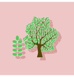Paper sticker on stylish background plant acacia vector