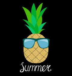 pineapple in glasses summer concept background vector image vector image