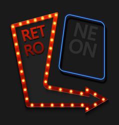 Retro arrow with light bulb on black vector
