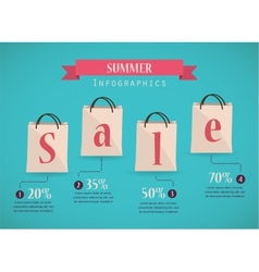 retro sale nfographics with shopping bags vector image