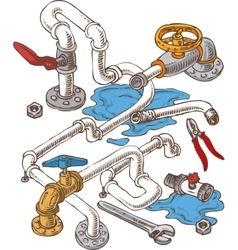 Sanitary engineering composition with pipes and vector