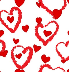 Seamless hand drawn heart red and white pattern vector image