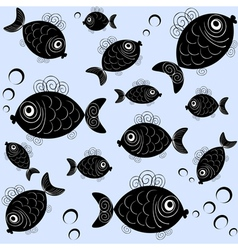 Seamless pattern with funny fishes vector image vector image