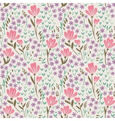 Seamless pattern with pink flowers vector image vector image