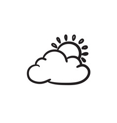 Sun with cloud sketch icon vector