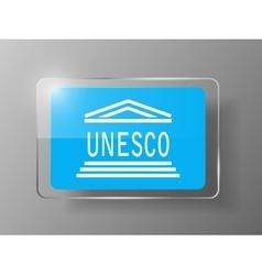 Unesco flag glossy button vector