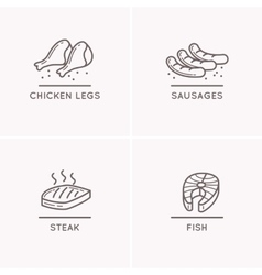 Line drawing sausages chicken legs salmon fillet vector