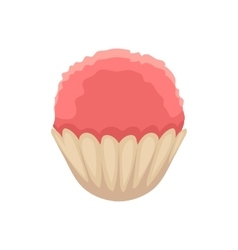 Cupcake with pink colored icing cartoon vector