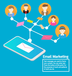 Business team concept smartphone sending email vector