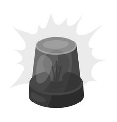 Emergency rotating beacon light icon in monochrome vector