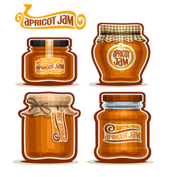 apricot jam in glass jars vector image
