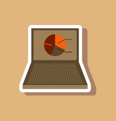Paper sticker on stylish background laptop chart vector