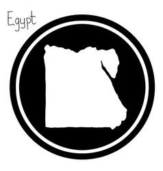 White map of egypt on black circle vector