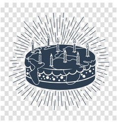 Silhouette cake icon with candles vector