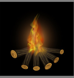 burning bonfire and flames vector image