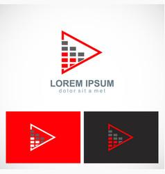 Triangle level bar business logo vector
