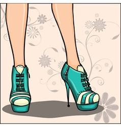 Beautiful legs in ankle boot vector
