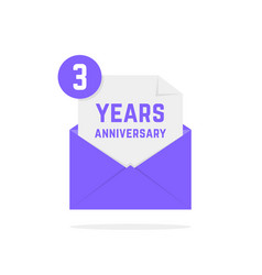 3 years anniversary icon in lilac letter vector