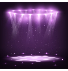 Stage with spotlights and spark rain vector