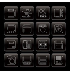 Line home and office equipment icons vector