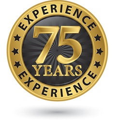 75 years experience gold label vector