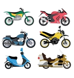 Motorcycle types multicolor motorbike ride speed vector
