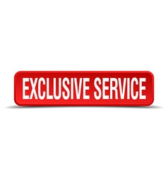 Exclusive service red 3d square button isolated on vector