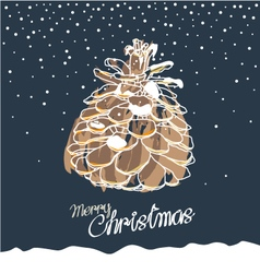 Pine cone design for christmas card vector