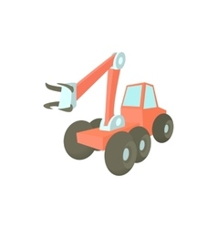 Forestry harvester icon in cartoon style vector