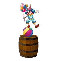 A clown above the barrel vector image vector image