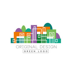 abstract logo design with linear city buildings vector image